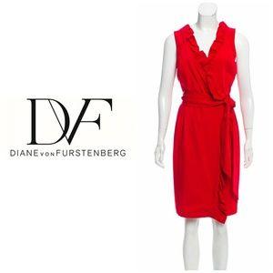 Diane Von Furstenberg Size 4 Red Wrap Dress